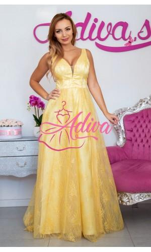 Žlté čipkované dlhé spoločenské šaty NINA