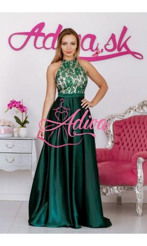 Zelené spoločenské šaty so saténovou sukňou CALISTA