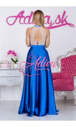 Modré spoločenské šaty so saténovou sukňou CALISTA