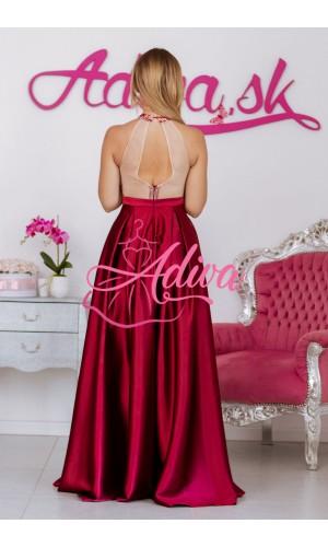 Bordové spoločenské šaty so saténovou sukňou CALISTA