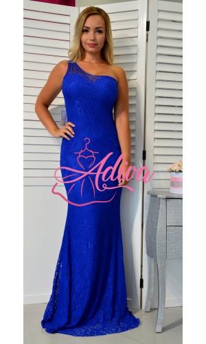 Modré priliehavé čipkované spoločenské šaty na jednom ramene
