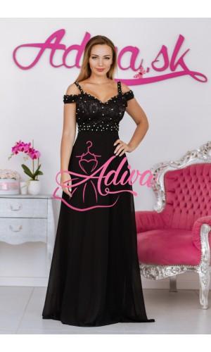 Dlhé krajkované spoločenské šaty čierne HELENE