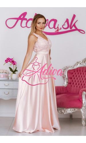 Pudrovo ružové spoločenské šaty LUNA