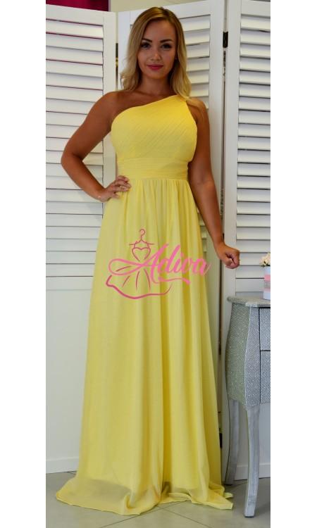 Dlhé spoločenské šaty žlté cez jedno rameno