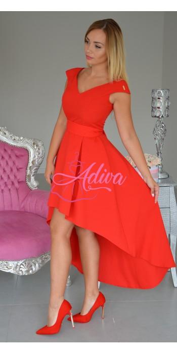 Asymetrické červené šaty Kinga