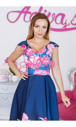 Asymetrické kvietkované šaty modro-ružové