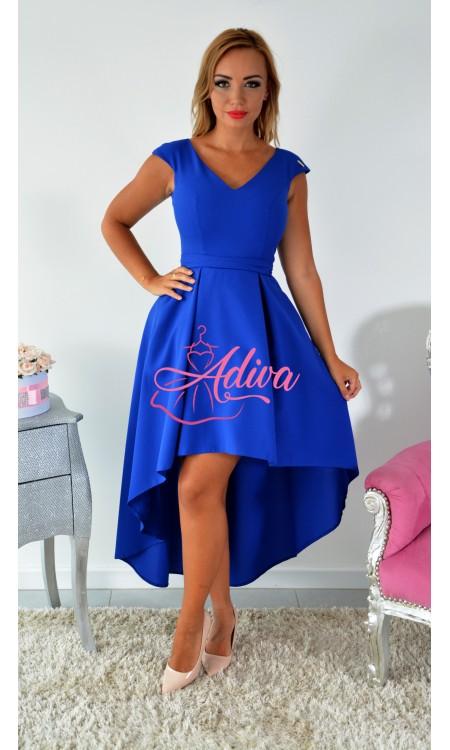 Asymetrické modré šaty Kinga
