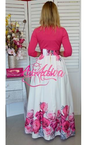 Dlhá biela kvietkovaná spoločenská sukňa