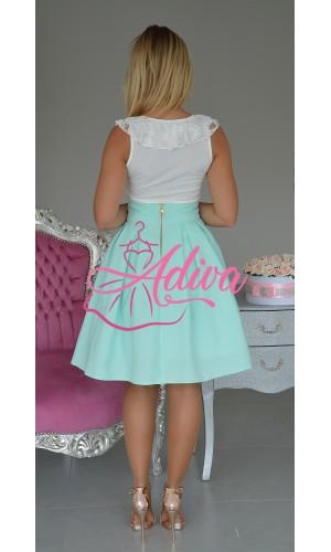 Krátka mentolová áčková sukňa