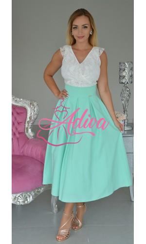 Elegantná midi mentolková áčková sukňa