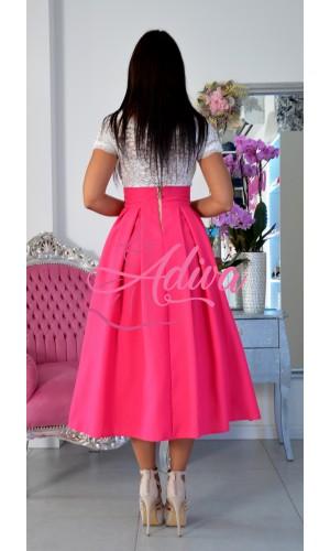 Elegantná cyklamenová midi sukňa