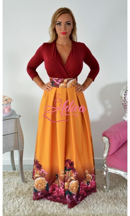 Horčicová dlhá kvetinová sukňa