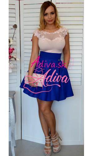 Elegantná modrá áčková mini sukňa