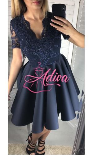 Spoločenské šaty tmavomodré krátke s čipkou