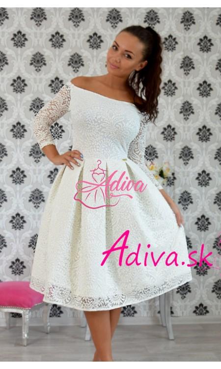 Krajkované elegantné midi šaty biele