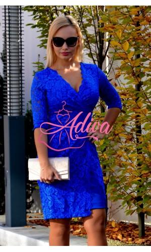 Spoločenské šaty krátke čipkované kráľovsky modré