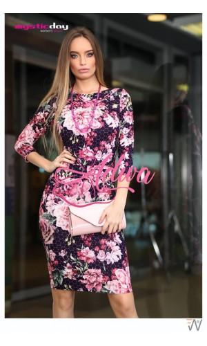 Dámske šaty krátke tmavofialové s kvetinkami