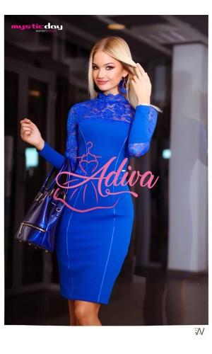Spoločenské šaty krátke modré s čipkou