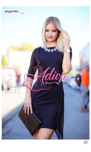 Spoločenské šaty čierne s brošňou