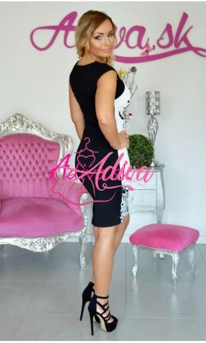 Čiernobiele priliehavé elegantné šaty Donna