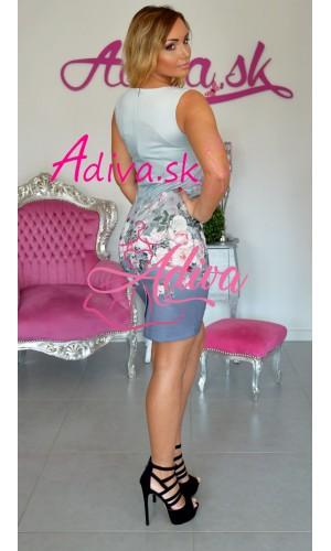 Elegantné krátke šaty s kvietkami