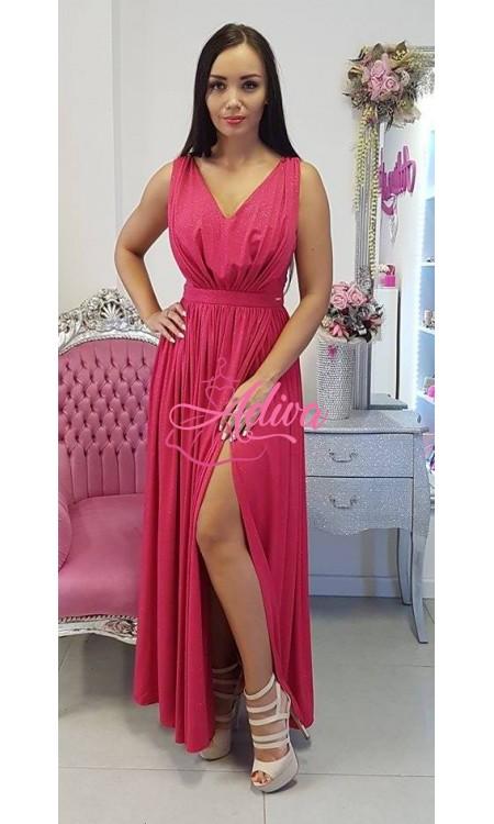 Luxusné dlhé spoločenské šaty malinové Ariana