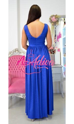 Luxusné dlhé spoločenské šaty modré Ariana