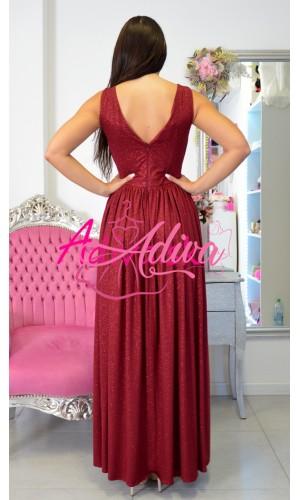 Luxusné dlhé spoločenské šaty bordové Ariana