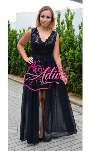 Spoločenské šaty čierne s odopínateľnou sukňou