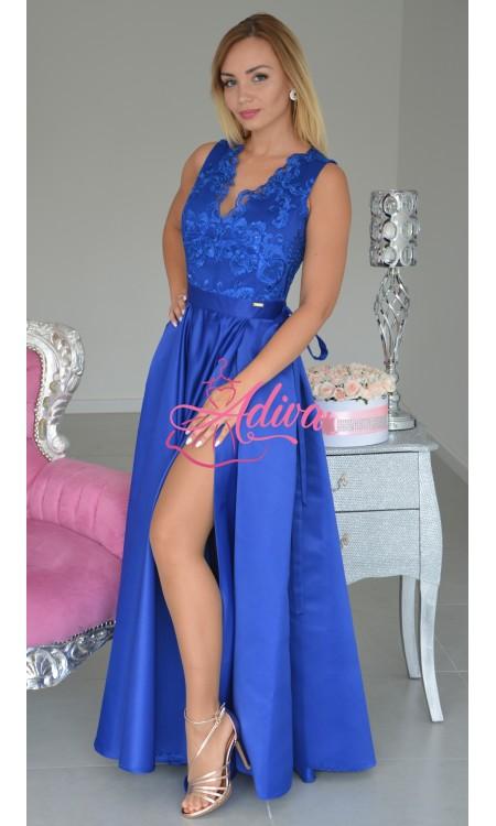 Luxusné modré spoločenské šaty so saténovou sukňou