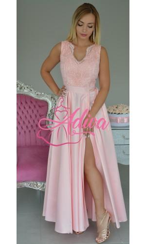 Luxusné ružové spoločenské šaty so saténovou sukňou