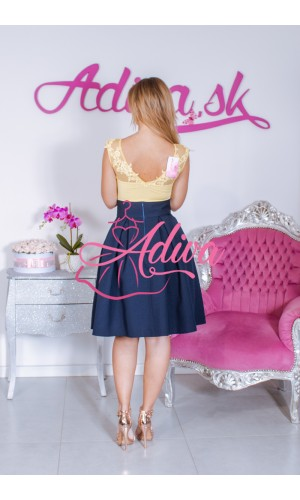 Tmavomodrá krátka áčková sukňa