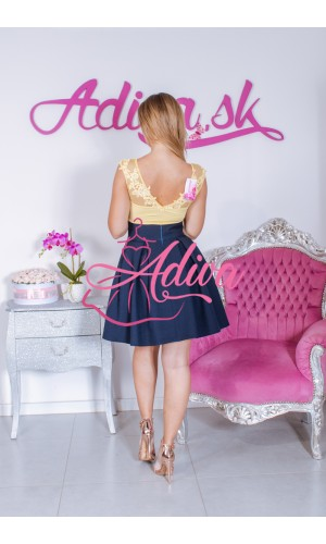 Tmavomodrá áčková mini sukňa