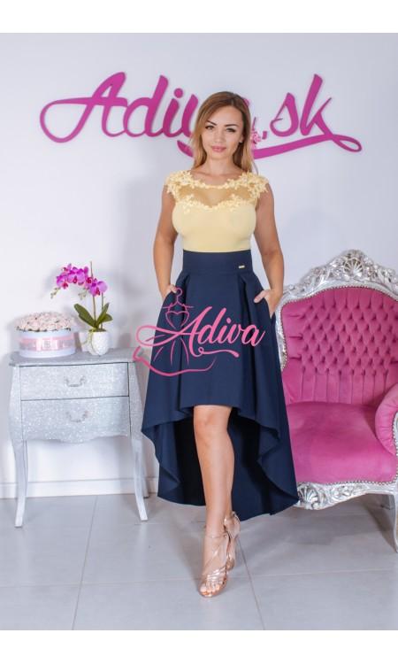 Tmavomodrá asymetrická sukňa