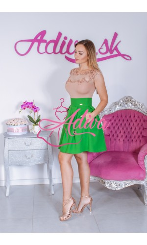 Zelená áčková mini sukňa