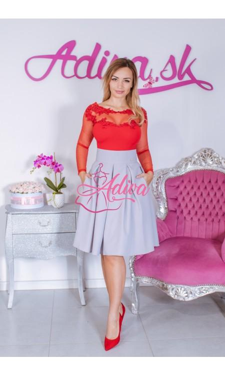 Sivá krátka áčková sukňa