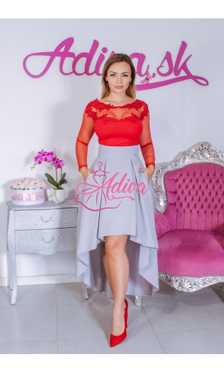 Sivá asymetrická sukňa