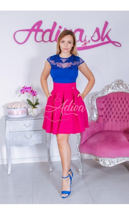 Cyklamenová áčková mini sukňa