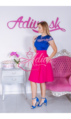 Cyklamenová krátka áčková sukňa