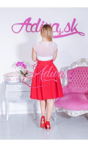 Červená krátka áčková sukňa