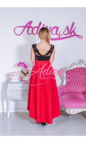 Červená asymetrická sukňa
