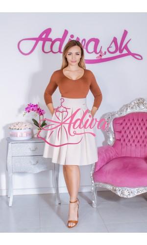Béžová krátka áčková sukňa
