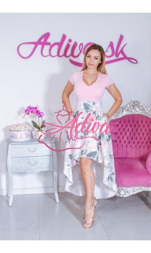 Kvietkovaná asymetrická sukňa