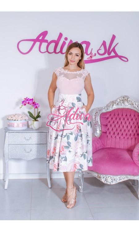 Kvietkovaná midi áčková sukňa